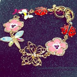 Betsey-Johnson florals and bugs bracelet